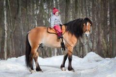 Horseback - child riding a horse stock image