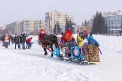 Horseback jazda w saniu Wakacje Maslenitsa Siber Obrazy Stock