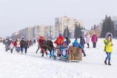 Horseback jazda w saniu Wakacje Maslenitsa Siber Zdjęcia Stock
