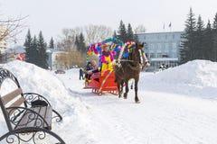 Horseback jazda w saniu Wakacje Maslenitsa Siber Obraz Royalty Free