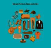 Horseback jazdy equestrian protestuje rzeczy akcesoria ilustracja wektor
