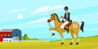 Horseback jazdy sztandar lub plakat Bieżne ikony dla aktywność dżokeja klubu Equipments dla Equestrian sporta tła royalty ilustracja