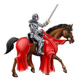 Horseback Knight. A knight holding a sword aloft while riding his horse Royalty Free Stock Photography