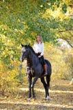 Horseback kobieta jedzie konia w jesień koloru żółtego drewnach zdjęcia stock