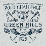 Horseback polo sport challenge. Vector print for sport wear grunge effect in separate layer royalty free illustration