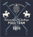 Horseback polo sport international challenge. Vector print for boy man sport wear royalty free illustration