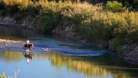 Free Horseback Rider In Rio Grande River At Big Bend National Park Royalty Free Stock Photography - 70311287
