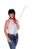 A horseback rider woman with helmet. Royalty Free Stock Photo