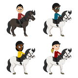 Horseback riders children cartoon Royalty Free Stock Photo