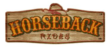 Horseback Rides Old West Sign royalty free stock image