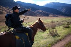 Horseback Riding. In the Kazkahstan mountain royalty free stock photos