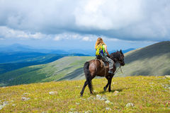 Horseback riding. Female rider on horseback at mountains royalty free stock images