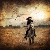 Horseback riding. On autumn field stock image