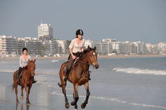 Horseback Riding on the Beach at La Baule, France Stock Photos