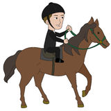 Horseback riding cartoon Stock Image