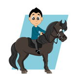 Horseback riding child cartoon Royalty Free Stock Images