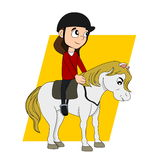 Horseback riding child cartoon Royalty Free Stock Photography