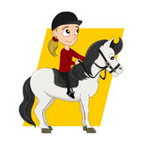 Horseback riding child cartoon Stock Photography