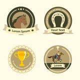 Horseback riding flat badges and labels Royalty Free Stock Photo
