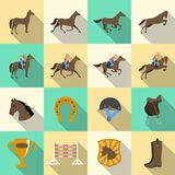 Horseback riding flat shadows icons set Royalty Free Stock Photos