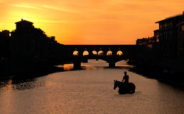 Horseback riding in Florence during the sunset Royalty Free Stock Images