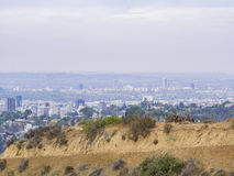 Horseback riding in Hollywood Hills trail Stock Photos