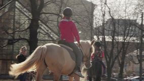 Horseback riding - little 11-year old girl riding a horse stock video footage