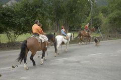 Horseback riding near Ainsa, Aragon, in the Pyrenees Mountains, Province of Huesca, Spain Stock Images