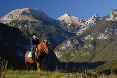 Horseback riding in paradise Stock Photos