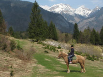 Horseback riding in paradise Royalty Free Stock Image