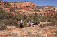 Horseback riding on a Sedona Trail. Horseback riding on Sedona's Red Rock Country royalty free stock images