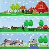Horseback riding, show jumping, taming horses, farming, vector set Royalty Free Stock Images