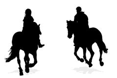 Horseback riding silhouettes Royalty Free Stock Photos