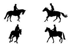 Horseback riding silhouettes Royalty Free Stock Photos