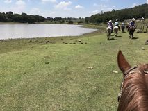 Horseback Riding Vacation in Mexico. Riding by a lake in rural Royalty Free Stock Image