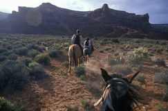 Horseback riding in Valley of the Gods, UT Stock Photography