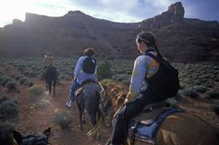 Horseback riding in Valley of the Gods, UT Royalty Free Stock Photos