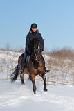 Horseback riding in winter Royalty Free Stock Image