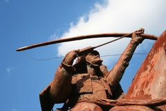 Horseback Samurai Archer Statue firing arrow Royalty Free Stock Photography
