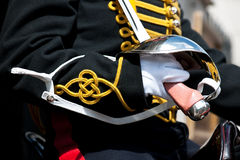 Horseguard montado; Detalles uniformes imagenes de archivo