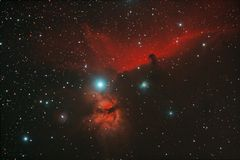 Horsehead and Flame nebula Stock Image