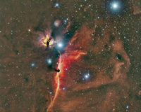 Horsehead and Flame Nebula. Imaged with a telescope and a scientific CCD camera royalty free stock photo