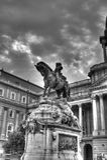 Horseherd statue in Buda Castle Stock Image