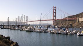 Horsehoe Cove. A marina at the base of the Golden Gate Bridge Royalty Free Stock Images