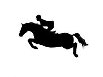 Horsejumping silhouette Vector. This is a silhouette of a jumping horse with rider drawn by free hand Stock Photo