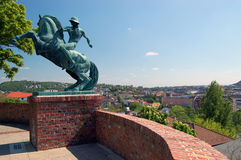 Horseman above Budapest. Bronze statue of horseman above city of budapest Royalty Free Stock Images