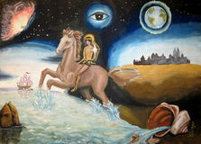 Horseman. The boy on the horse over the sea child artwork Royalty Free Stock Images