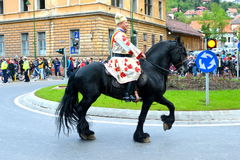 Horseman during Brasov Juni parade Royalty Free Stock Photo