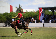 Horseman competition with javelin royalty free stock image