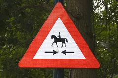 Horseman crossing sign Stock Photo